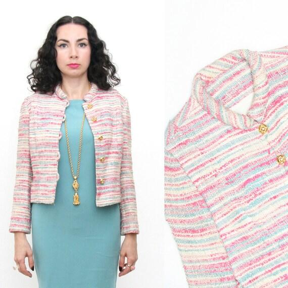 Vintage 60s Mod Tweed Pastel Jacket Medium Retro Mad Men