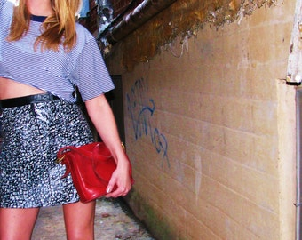 onemanband. original UPCYCLED Leather Black and White TRIBAL Mini Skirt Rocker