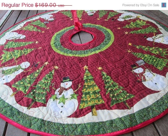 Christmas Tree Skirt Snowman And Christmas By Bellazahn On
