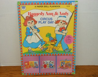 Unused Uncut Vintage 1980 Whitman Raggedy Ann and Andy Paper Doll and Press Outs  Play Book Free Shipping