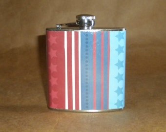 SALE Flask Red, White, and Blue Stars and Stripes Print 6 ounce Stainless Steel Girl Gift Flask KR2D 7186