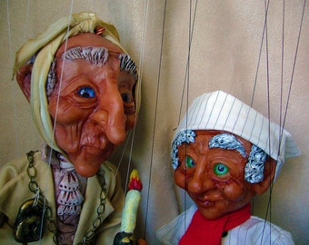 Set of  Ebenezer Scrooge and Jacob Marley's Ghost Marionettes