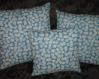 Fabric Accent Pillow Cover White Daisies Flowers on Blue Cotton Blend Envelope Closure Available in Different Sizes Home Decor Decorative
