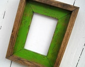 8.5 x11 Lime Green Rustic Stacked And Stained Picture Frame, Rustic Home Decor