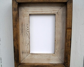 4 x 6 Rustic Weathered Picture Frame, Cream Stacked And Stained, Rustic Home Decor