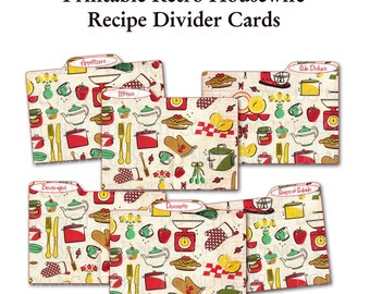 Printable 1950's Retro Housewife Recipe Divider Cards - Set of 6 retro kitchen