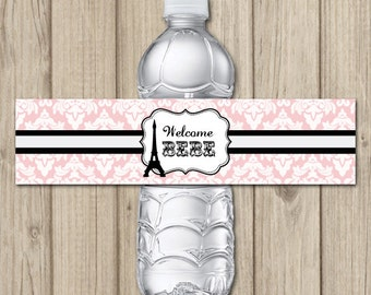 PARIS THEME Baby Shower - Printable Water Bottle Labels - INSTANT Download