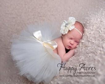 IVORY tutu and headband set, newborn tutu, baby tutu, newborn photography prop, birthday tutu