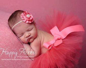 CORAL Newborn tutu and headband, newborn photography prop, baby tutu, birthday tutu