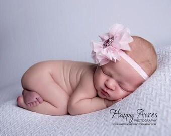 Pink Newborn headband, baby headband, girl headband, photography prop, newborn photo prop