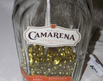 Tequila Bottle Lamp - Camarena Tequila Bottle Lamp - Filled w/ Tequila Colored Gems