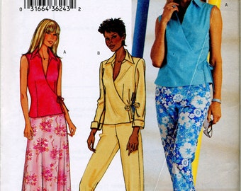 Misses' Wrap Top, Skirt and Pants Sewing Pattern - Butterick 3774 - Size 6-8-10 - Uncut