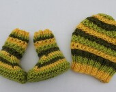 Instant Download Knitting pattern (PDF) Ridge Hat and Booties set.