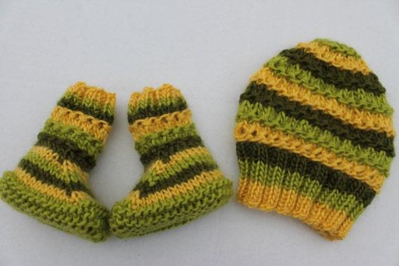 Instant Download Knitting Pattern Pdf Ridge Hat And Booties Set
