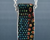 Fused Dichroic Glass Pendant with channel-Handmade-Slider-necklace-SRA