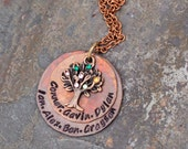 Hand Stamped Family Tree Necklace - Hand Stamped Mother Necklace -Tree Necklace-Grandmother Necklace- Family Tree Necklace With Birthstones