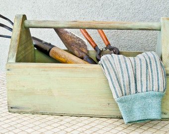 Farmhouse Chic Garden Tote Kitchen Tool Holder Kitchen Decor Hand Painted in Sage by OlliesFineThings