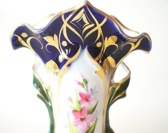 Ornate Porcelain Vase Fancy Flower Vase Hand Painted Porcelain Shabby Cottage Chic Mantle Decor Victorian Cobalt Blue