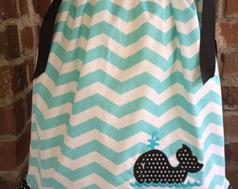 Light teal Chevron Pillowcase with Ruffle and Whale Applique
