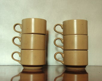 Six Vintage Mugs, stacking cups