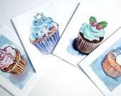 Christmas Cards, Cupcake Watercolor Art Notecards, Set of 4