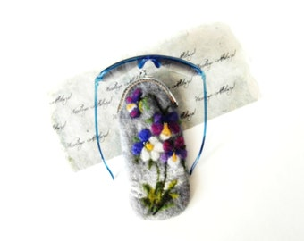 Wet Felted Spring Pansy flowers Eyeglasses Case Ready to Ship garden  handmade gift for her under 50 USD