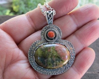 Native American Inspired Unakite and Red Jasper Sterling Silver Pendant