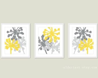 Dandelions Art Prints - Modern Flower Wall Art - Yellow and Grey - Unique Home Decor - Modern Botanical Nature Floral Wall Art