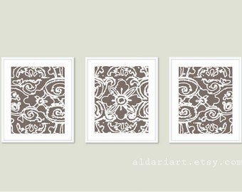 Abstract Flower Digital Print Set Brown Taupe Wall Art Modern Home Decor - Lace - Spring