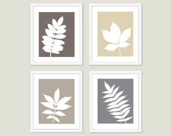 Botanical Leaves Digital Print Set  - Modern Wall Art  - Autumn Fall Decor  - Nature Home Decor - Brown Tan Beige Grey - Neutral Colors