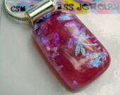 Pendant Raspberry Pink Fused Dichroic Glass Pendant Kiln Glass Dichroic Jewelry Dragonfly Jewelry Fused Glass Pendant Pink Pendant Glass
