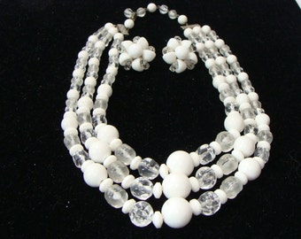 Vintage Three Strand white and clear bead necklace