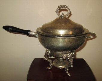 Reduced Ornate Antique Silver Plated Footed Fondue / Rare Find / Great Gift / Home Decor