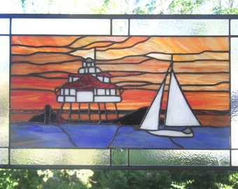 "Chesapeake Bay Sunset--13.5"" x 23""-- Stained Glass Window Panel"
