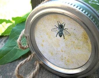 Vintage Honey Bee canning jar labels, round mason jar stickers & honey bottle labels, fruit preservation, jam wedding favor jars, beekeeper