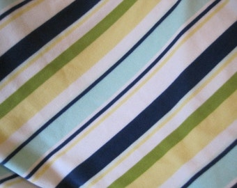 Fleece Blanket Handmade Stripes with Blue - Ready to Ship Now
