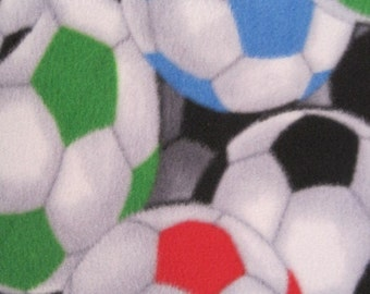 Soccer Balls with Black 2 Layer Blanket