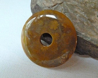 Large Fossil Coral Donut Bead  -  45mm  -  Natural Agatized Coral - Beautiful Quality