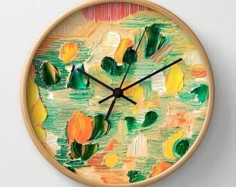 Geometric Clock Art Clock Triangles Pastel Colors Modern Home Decor Abstract Art