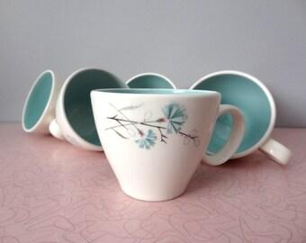 Tea Party Set of 6 Floral Robins Egg Tea Cups