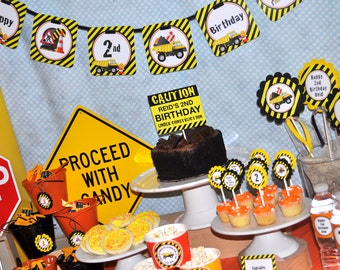 Construction Birthday Banner - Construction Birthday Decorations - Mini Banner - Dump Truck Birthday