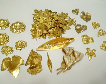 Jewelry supply lot - Goldtone charms - findings - pendants for jewelry making - Leaves and flowers - cheesegrits