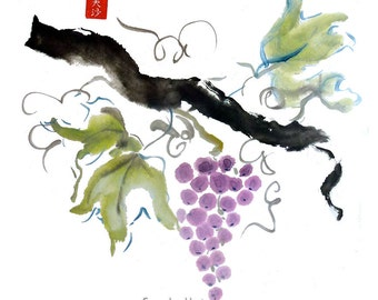 Original Sumi Brush Painting, Grapes, art, decor, vineyard, fruit, nature, wine, cook, gift, ink, watercolor, Japanese, color sumi, unframed