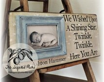 BABY PICTURE FRAME Personalized Custom Picture Frame 8x20 Adoption Dedication Baptism Christening First Birthday Gift Godparents