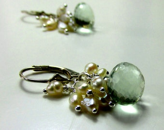 Seed Pearls and Green Amethyst with Sterling Silver Earrings