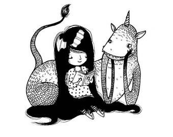 Tell Me A Story - Mini Postcard Print - Hannakin Sketchbook Illustration - read book girl creature beast monster friendly black white happy