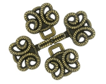 HOOK And EYE Fasteners - Twisted Rope Butterfly Cloak Clasp Antique Brass Fasteners. 5 Pairs.