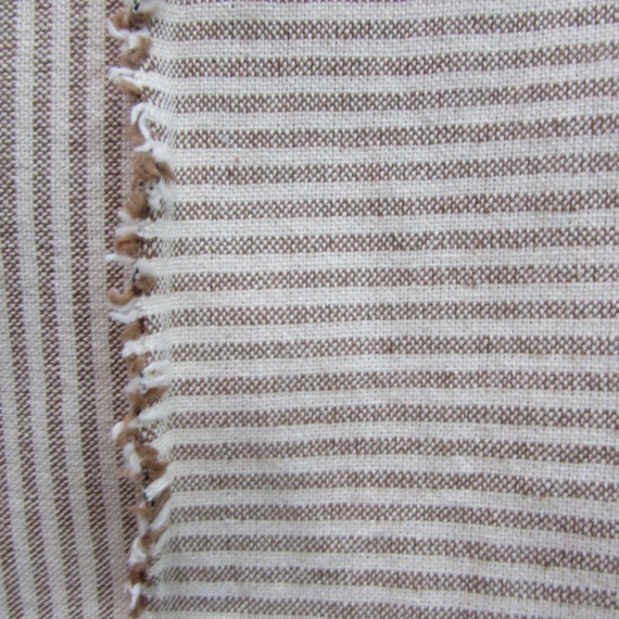 VIEWPOINT Railroaded woven organic Ticking Fabric burlap color