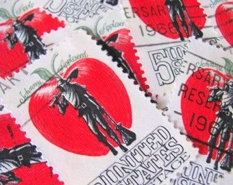 Red Apple 30 Vintage US Postage Stamps Johnny Appleseed 1960s 5-Cent Candy Apple Red Crimson Fruit Scrapbooking Ephemera Christmas Valentine