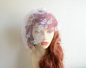 READY TO SHIP, White Lace Birdcage veil, Petite Lace Veil ,White lace Veil, Vintage Veil, Lace veil, Chantilly Lace veil, Style VB016